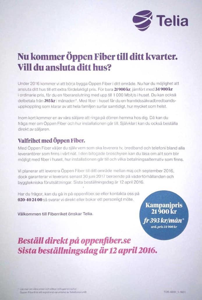 öppen fiber kostnad